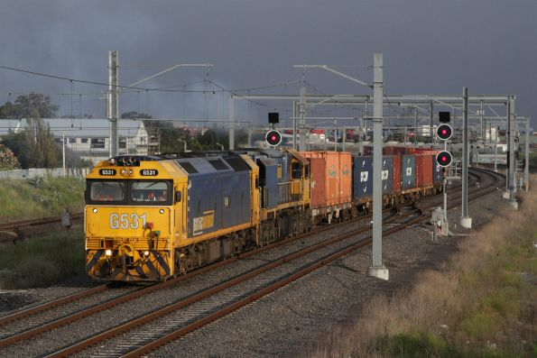G531 and XR class lead the down Tocumwal freight through Sunshine