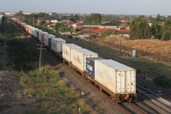 Tail end of the down Tocumwal freight at Keilor Park Drive