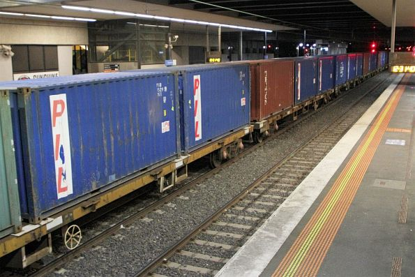 Whole lot of 20 foot containers on the down Tocumwal freight at Sunshine