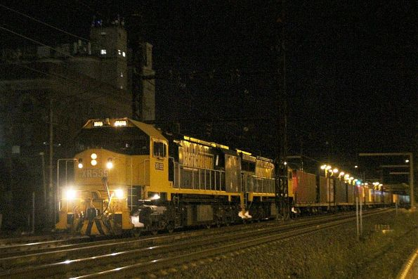 XR555 and XR557 lead the up Tocumwal freight through Albion