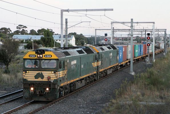 G524 leads G528 on the down Tocumwal freight at Sunshine