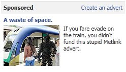 [FAKE] Metlink fare evasion advertisement on Facebook-