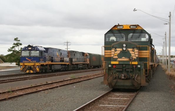 Indian Pacific liveried NR27 passes XR552 on a grain train