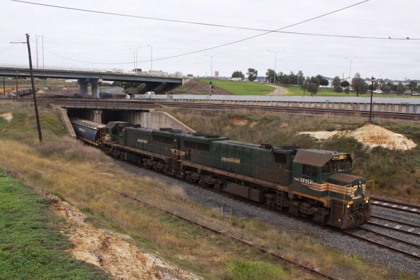 XR554 and XR550 headed under the main line at North Geelong Junction