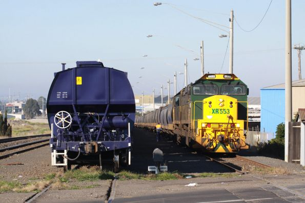 XR553 and XR552 being put away at North Geelong C until later in the day