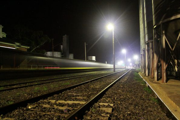 Tail end of the train streaks past at St Arnaud