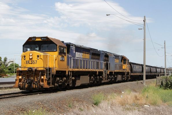 Headed out onto the main line: XR557 and XR555 depart North Geelong