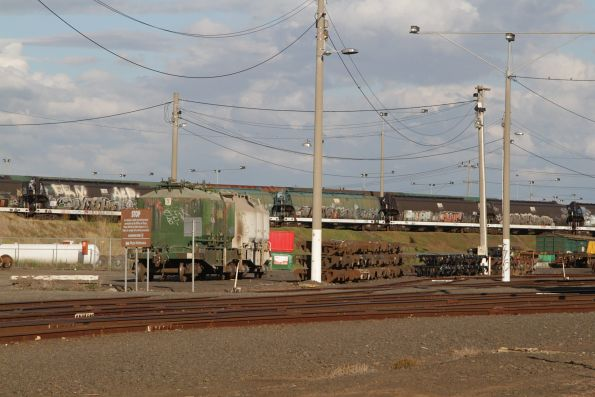 Mix of WGSY and WGBY grain wagons owned by AWB in storage at North Geelong Yard