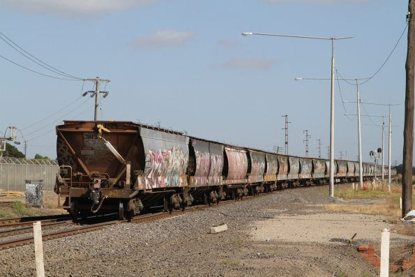 Tail end of an up broad gauge grain train at Brooklyn