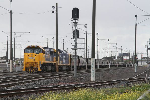 XR553 and G522 stabled beside the mainline at the Geelong end at North Geelong Yard