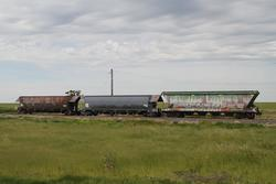Pair of NHVF coal hoppers and a VHKY grain hopper stored at Murtoa