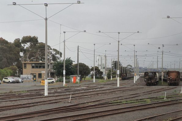 Rakes of broad gauge grain wagons stabled at North Geelong Yard