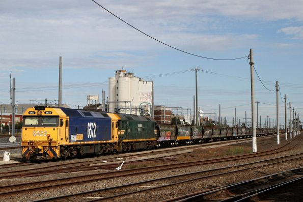G522 and G528 stabled at Tottenham Yard on a broad gauge grain train