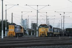 XR555 shunting grain wagons at North Geelong Yard, with XR550 alongside