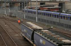 Kensington grain reversing at Melbourne yard, second person leading the consist