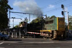 Powering out of the shadows at the Macaulay Road level crossing