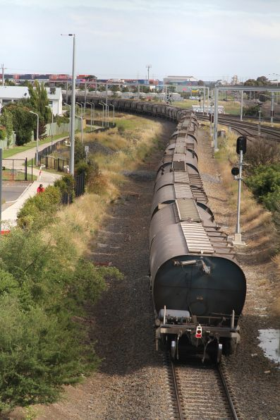 Tail end of an up standard gauge PN grain service passes through Sunshine