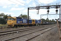8133 leads BL30 on 4CK5 down standard gauge grain through Laverton, headed from NSW to Western Victoria