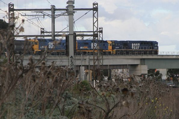 8237, 8159 and 8128 lead 5CK5 westbound grain over the Tottenham Triangle