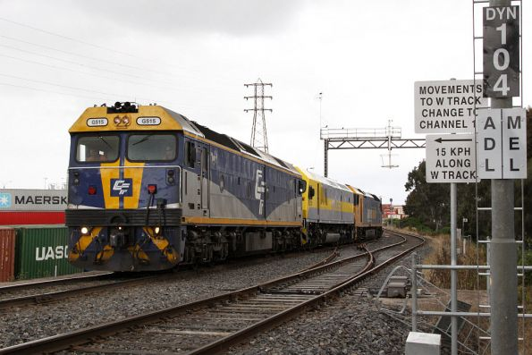G515 leads the train off the relatively new 'W' track, heading direct to North Dynon