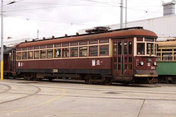 Privately owned Adelaide tram H.368 in open storage
