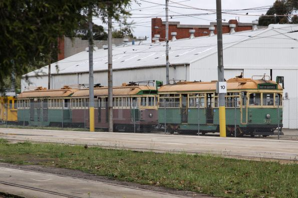 More junk sitting outside: SW6.932 with two ratty looking W2 class trams, and the yellow scrubber car