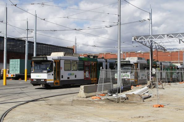 Handful of B2 class trams stabled in the open air roads at the south end of Preston Workshops