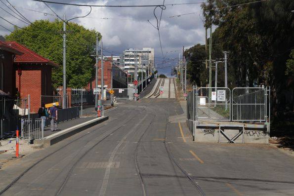 Tram loading ramp on Miller Street, outside Preston Workshops