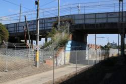 Miller Street tramway bridge passes over the tramway test track and the suburban railway lines