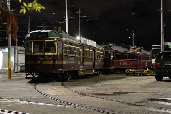 City Circle liveried W7.1000 with Colonial Tramcar Restaurant SW6.964 stored at Preston Workshops