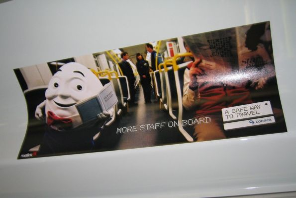 Connex ad inside a Comeng - Humpy Dumpty on a train, promoting 'A Safe Way to Travel'