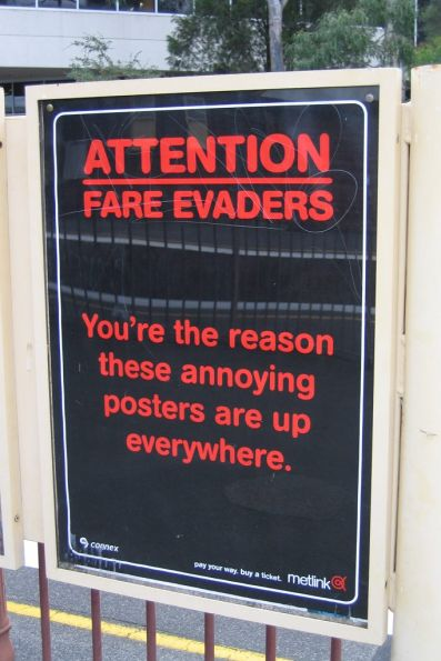 New Metlink fare evader campaign sign at Hawthorn station