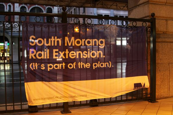Promotional banner for the South Morang project, beside the Epping line platform at Flinders Street