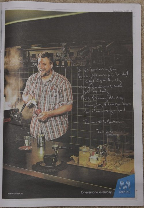 Latest ad in the Metro 'This is me' campaign - 'Courtney' the coffee shop owner