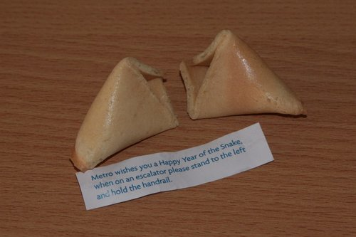 Inside a fortune cookie from Metro Trains Melbourne