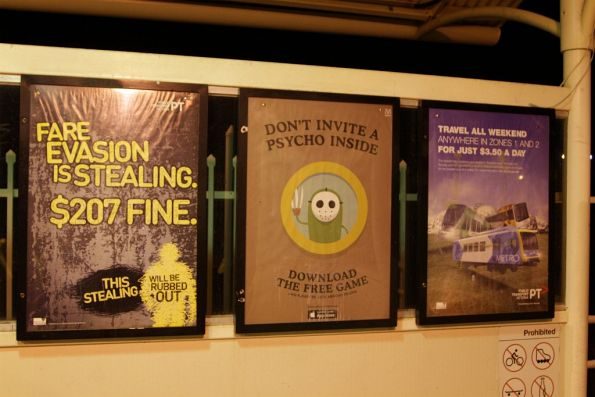 Selection of station posters: PTV fare evasion campaign, Metro 'Dumb Ways to Die' and PTV weekend travel