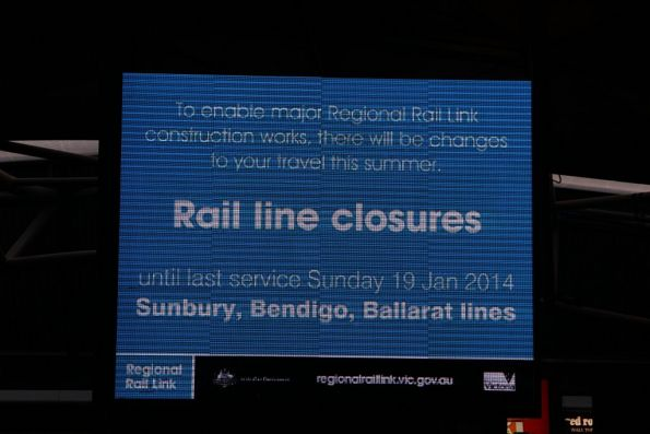 RRL closure notice on the big LED screen at Southern Cross Station