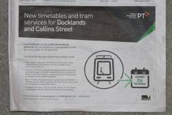 PTV finally run advertisements advising of that route 75 trams no longer use Spencer Street