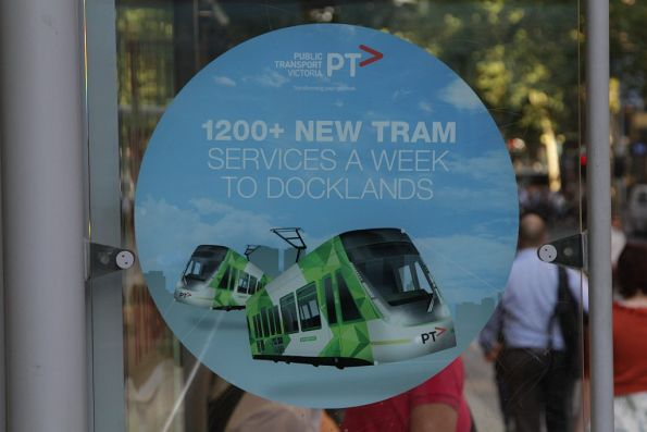 PTV promotion on Collins Street, for 1200 more weekly tram services to Docklands