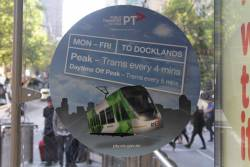 PTV promotion on Collins Street, for trams every 4 minutes to Docklands in peak times