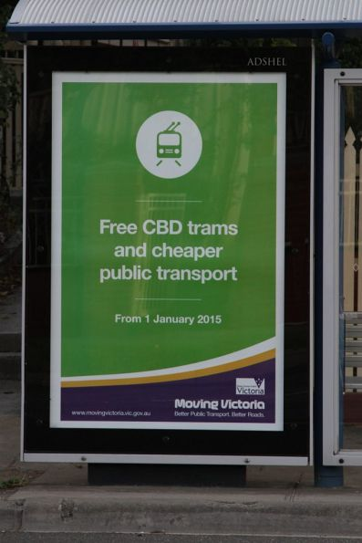 The recent 'Free CBD trams and cheaper fares' election promise already promoted as part of the existing 'Moving Victoria' campaign