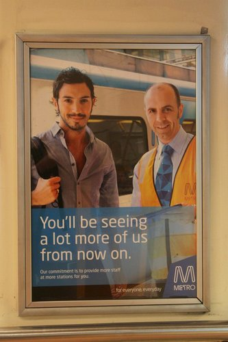 Metro Trains Melbourne 'You'll be seeing more station staff' poster from early 2010 still in place