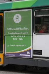 More advertising on trams for the Liberal Government's cuts to public transport fares from 2015