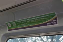 'Moving Victoria' advertisement promoting the half-baked 'Melbourne Rail Link' project onboard a Comeng train