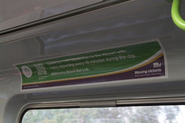 'Moving Victoria' advertisement onboard a Comeng train, promoting the unfunded 'Melbourne Airport Rail Link' project