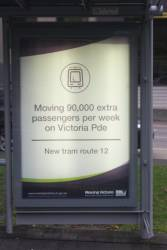 'Moving Victoria' poster promoting the supposed 90,000 extra passengers the new route 12 tram will carry