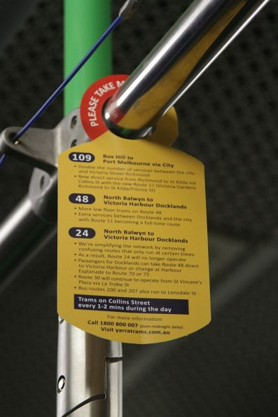 Hanging flyer onboard a tram, advertising the new route 109, 48 and 24 services