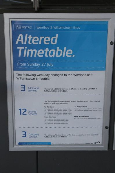 Altered timetable notice from Metro Trains