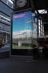 30 second long 'Moving Victoria' video being shown beneath the Water Tower Clock at Southern Cross Station