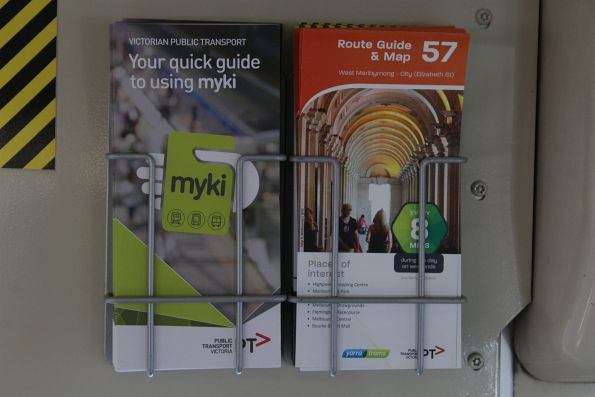 'Your quick guide to using myki' brochure and route 57 timetable booklet onboard a tram